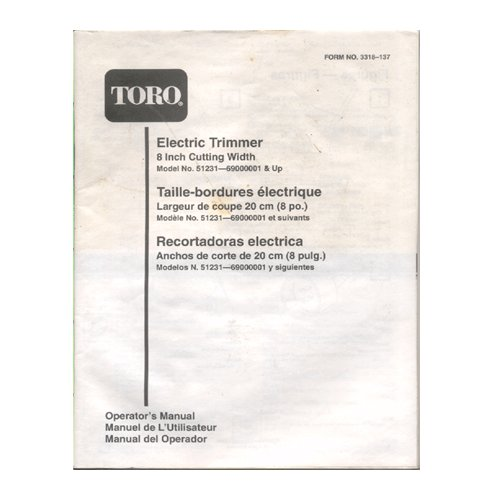 "Original 1994-1999 Toro Electric Trimmer 8"" Model 51231-69000000001 & Up User Manual Form 3318-137"