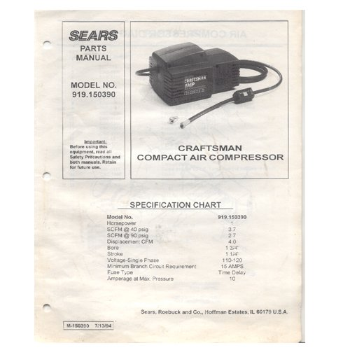 Original 1994 Sears Craftsman Compact Air Compressor Model No. 919.150390 Parts Manual Form M-150390