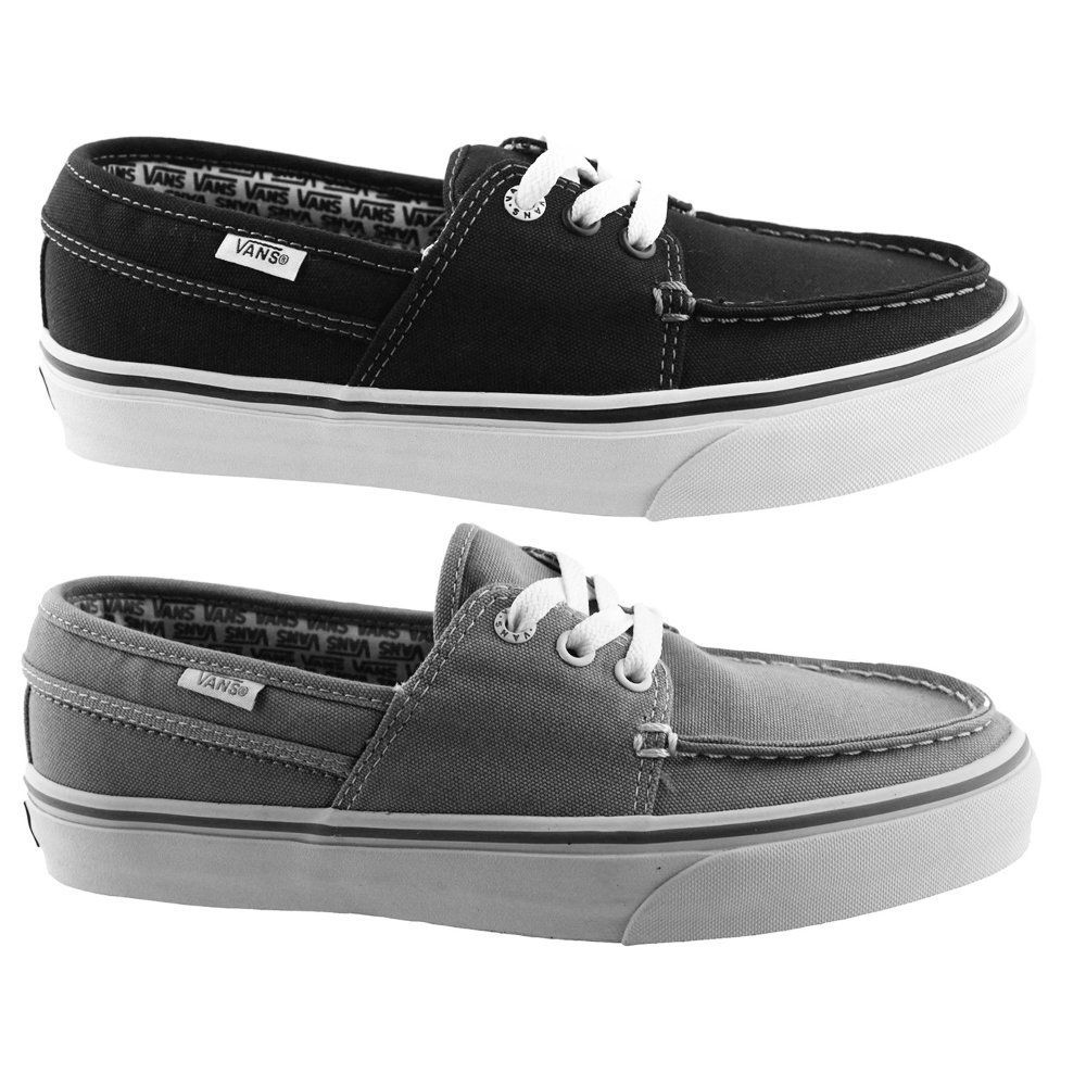 Vans Hull Casual Canvas Boat Shoes / Skate Sneaker Mens Size 12 (2 Pair: Black & Grey)