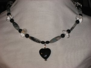 #9--Quartz, Amazonite, Onyx Heart Focal