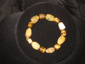 #104 Yellow Opal, Tiger Eye bracelet