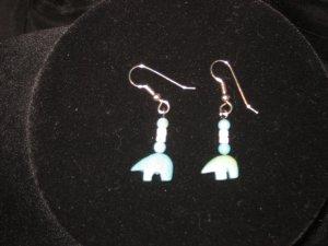 #1019--Turquoise Bears, Shell Heishi Earrings on French Hooks