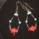 #1016--Buffalo Horn, Coppalinni, Coral, Turquoise Earrings