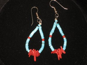 #1014--Turquoise Heishi, Coppalinni, Coral Earrings
