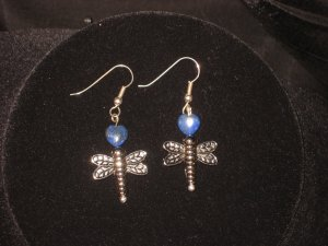 #1013--Lapis DragonFly Earrings on French Hooks
