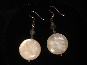 #1006-- Shell, Aventurine Heart Earrings on French Hooks