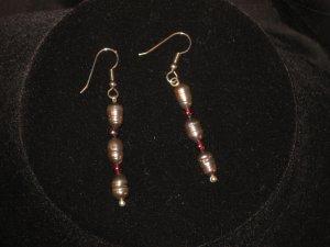 #1005--Black Pearl, Garnet Earrings on French Hooks