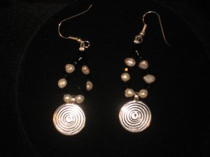 #1003-- Silver Spiral, Pearl, Onyx Earrings on French Hooks