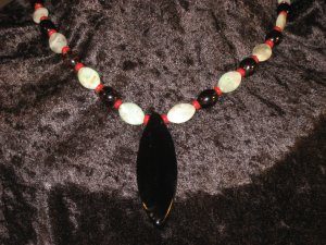 #40--Amazonite, Coral, Smoke Quartz, Obsidian Arrow
