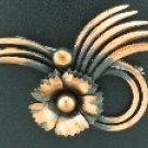 Swirl and Flower Copper Brooch BRO2074