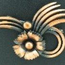 Swirl and Flower Copper Brooch BRO2074