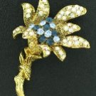 Two Tone Blue and AB Rhinestone Lily Brooch BRO2077