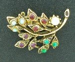 Antiqued Gold Tone Multi Colored Leaf Brooch BRO2100