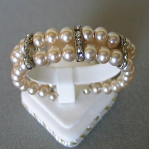 Faux Pearl and Channel Set Rhinestone Memory Bracelet BRA2003