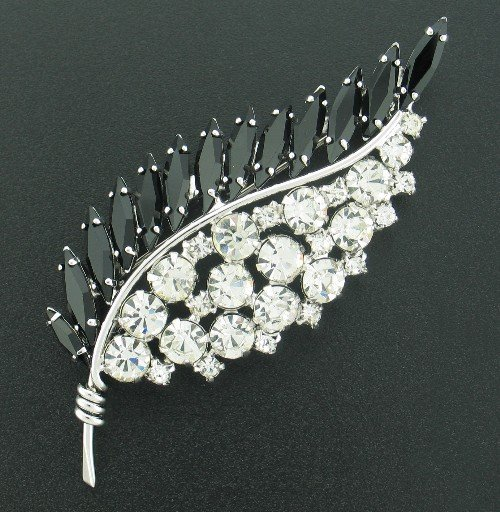Artistic Black and Clear Rhinestone Leaf Brooch BRO2018