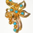 Faux Turquoise and Faux Pearls Set in Gold Tone BRO2086