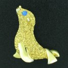 Seal Figural Pin with Blue Rhinestone Eye BRO2161
