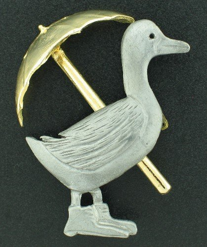 Ultra Craft Pewter Duck with Umbrella BRO2171
