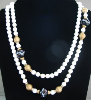 Essex White Glass Rope Necklace with Flare NEC2029