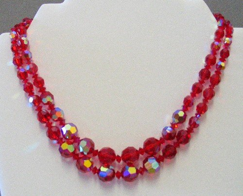 Dual Strand Red Aurora Borealis Crystal Vintage Necklace NEC2038