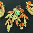 Lovely Autumn Colored Rhinestone Brooch and Matching Earrings  SET2012