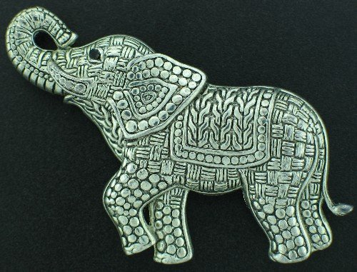 Large Silver Tone Wicker Weave Elephant Brooch BRO2125