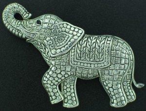 Large Silver Tone Wicker Weave Elephant Brooch BRO2125