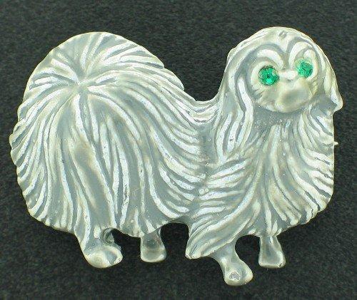 Gerrys Grey Enamel Pekinese Vintage Figural Brooch BRO2043