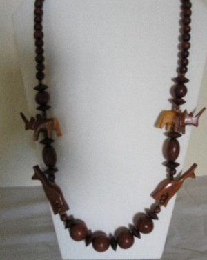 Wooden Beaded Jungle Animal Necklace