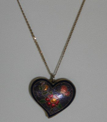 Cloisenne Heart Pendant with 10 K Chain