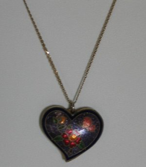 Cloisenne Heart Pendant with 10 K Chain