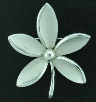 Trifari Silver Tone Flower Brooch
