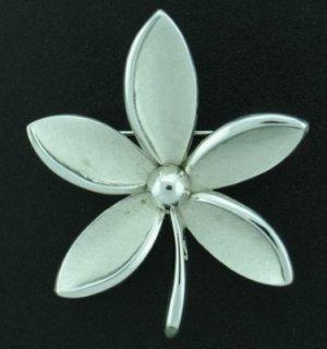 Trifari Silver Tone Flower Brooch