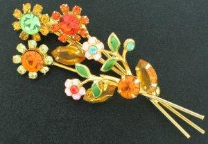 Gold Tone Floral Design Rhinestone Pin Bro2190
