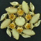 Carmel Cabochons and Amber Rhinestone Layered Brooch Bro2038