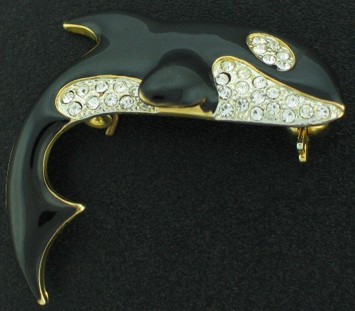 Killer Whale with Rhinestone Accents Brooch Bro2058