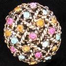 Vintage Gold Tone Basket Weave with Rhinestone Pin Bro2122