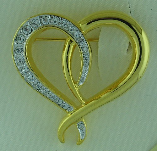 Jennifer Moore Genuine Crystal Heart Brooch Bro2039