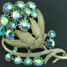Glizty Green Aurora Borealis Rhinestone Vintage Brooch Bro2037