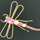 Brilliant Pink Contempary Dragonfly Pin Bro2033
