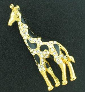 Rhinestone and Gold Tone Giraffe Pin Bro2052