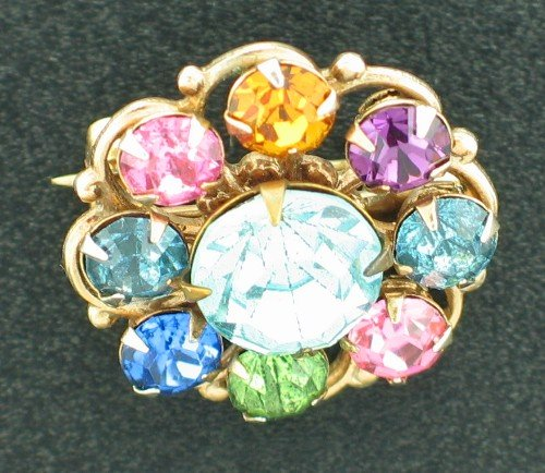 Fabulous Round Multi Colored Rhinestone Brooch Bro2112