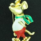 Skating Mouse Enameled on Gold Tone Bro2046