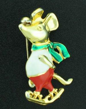 Skating Mouse Enameled on Gold Tone Bro2046