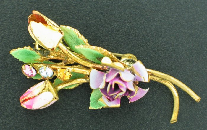 Austrian Signed Painted Roses Brooch Bro2090