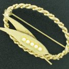 Vintage Twisted Rope Oval Brooch with Faux Pearls Bro2085