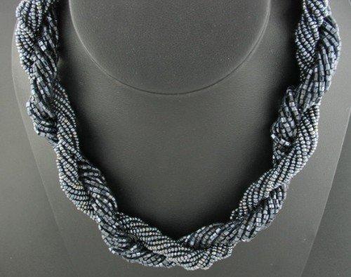 Lustrous Black Torsade Necklace Nec1040bc