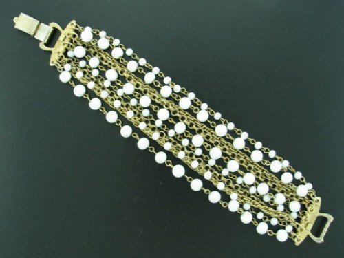Coro Wide multi Strand White Bead and Chain Bracelet Bra2012