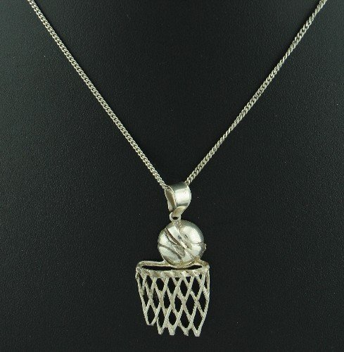 Silver 925 Chain with 925 Silver Basketball and Hoop Pendant Nec1024bc