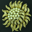 Trifari Brushed Gold Tone Sunflower Brooch with Faux Pearls
